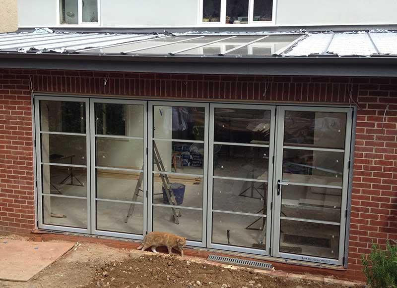 Grey aluminium bi fold door in Cintra Road, Norwich