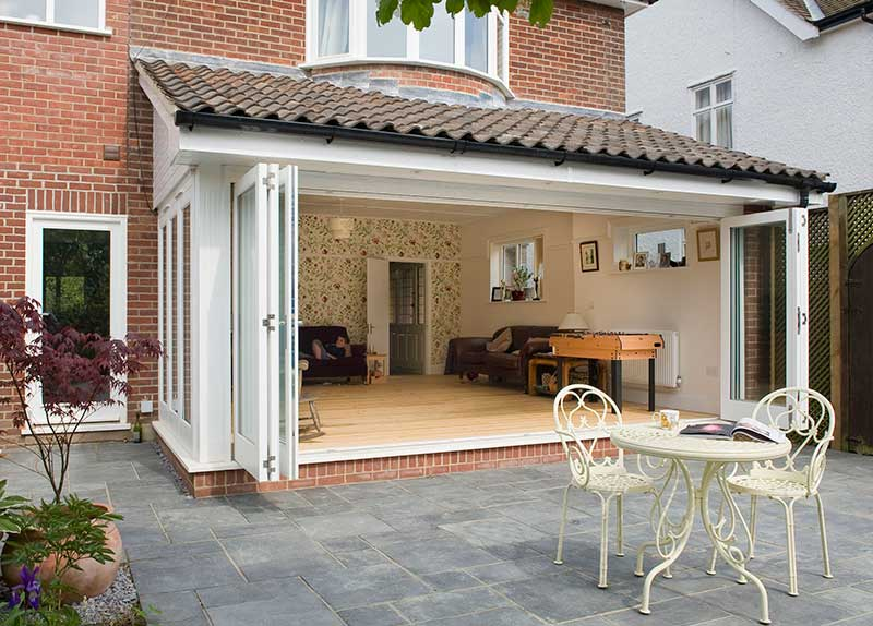 Garden Room Extension Hardwood Bi Folds to front in Branksome Road, Norwich