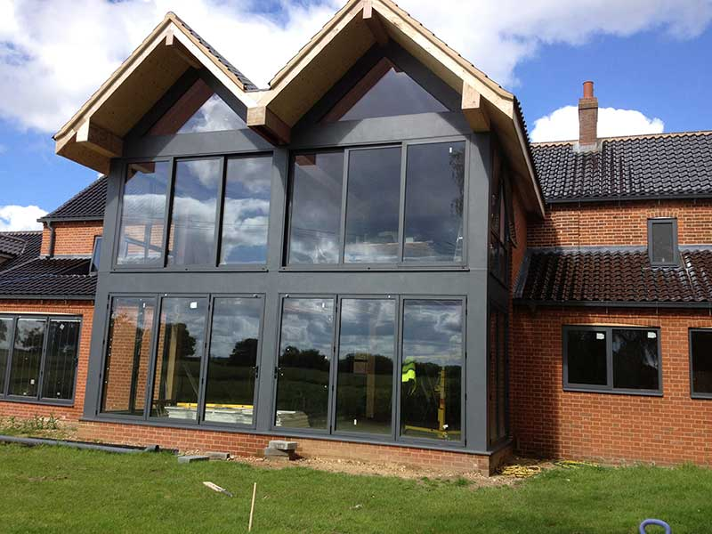Anthracite Grey Aluminium Glass Screen in Reepham