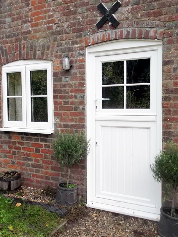 White woodgrain Foil PVCu Stable door